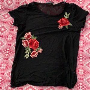 Tops - Mesh rose shirt.